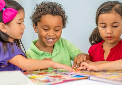 Preschool kids reading